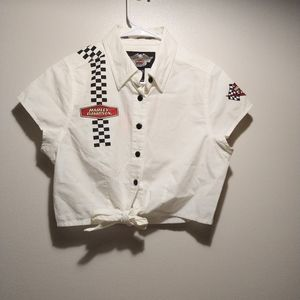 Harley Davidson Button Up Checkered Crop Top Shirt